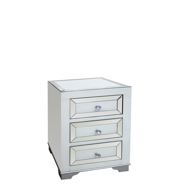 Bianca - 3 Drawer Bedside Chest  Mirrored Silver & White