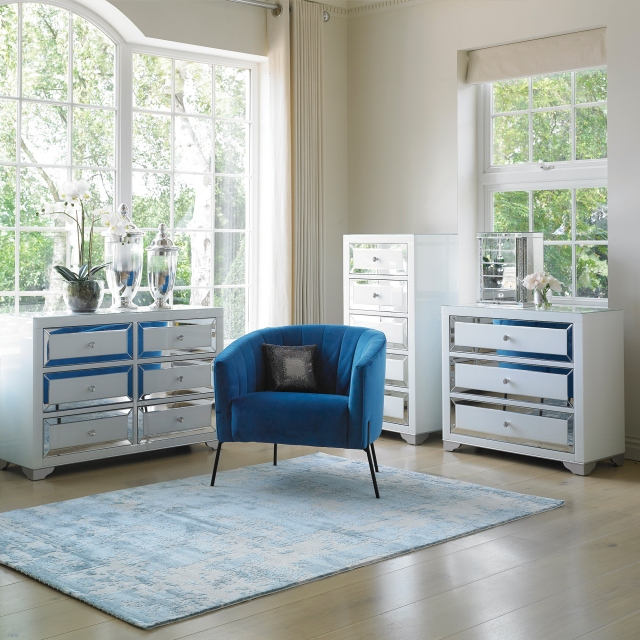 Bianca - 3 Drawer Wide Chest Mirrored Silver & White