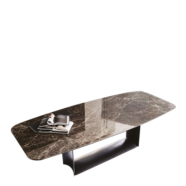 Cattelan Italia Dragon Keramic - Dining Table SAG Shaped With Titanium Base
