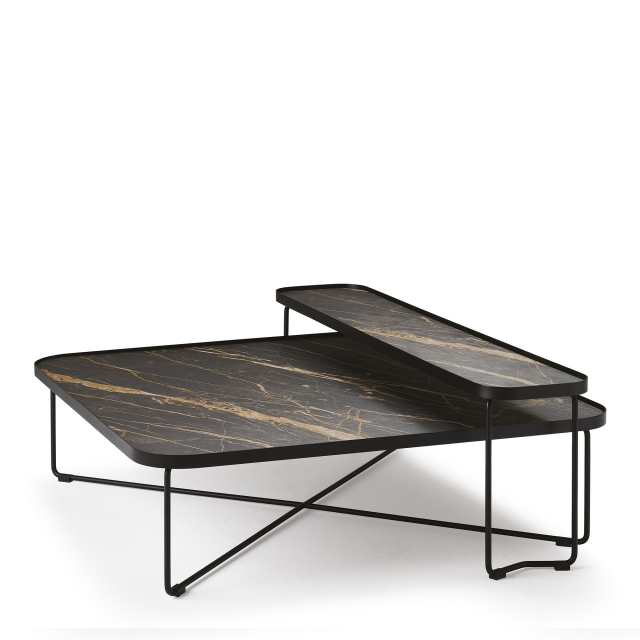 Cattelan Italia Benny Keramic - Coffee Table In GFM73 Black Laquered Steel