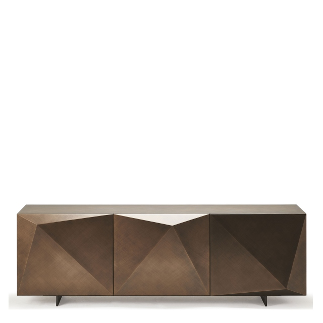 Cattelan Italia Kayak - 3 Door Sideboard In Brushed Bronze With OP69 Titanium Feet