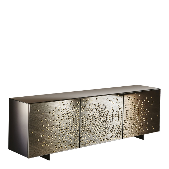 Cattelan Italia Voyager - 3 Door Sideboard In Frosted Bronze/Black Relief L4 Glossy Moka Carcase