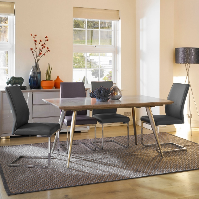 Detroit - Extending Dining Table & 4 Grey Chairs