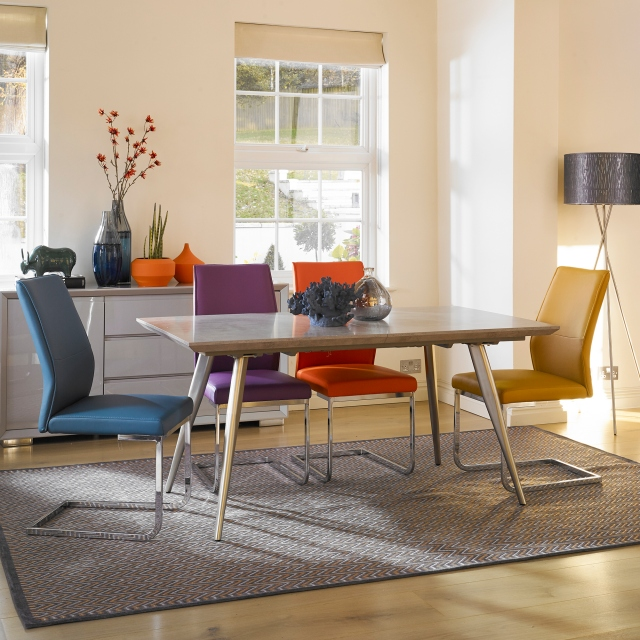 Detroit - Extending Dining Table & 4 Purple Chairs