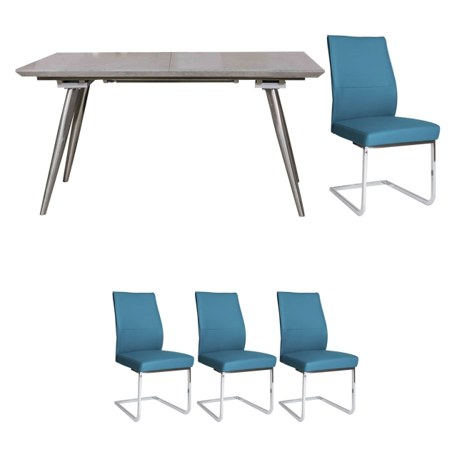 Detroit - Extending Dining Table & 4 Blue Chairs
