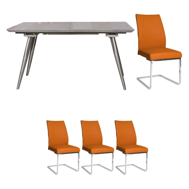 Detroit - Extending Dining Table & 4 Orange Chairs