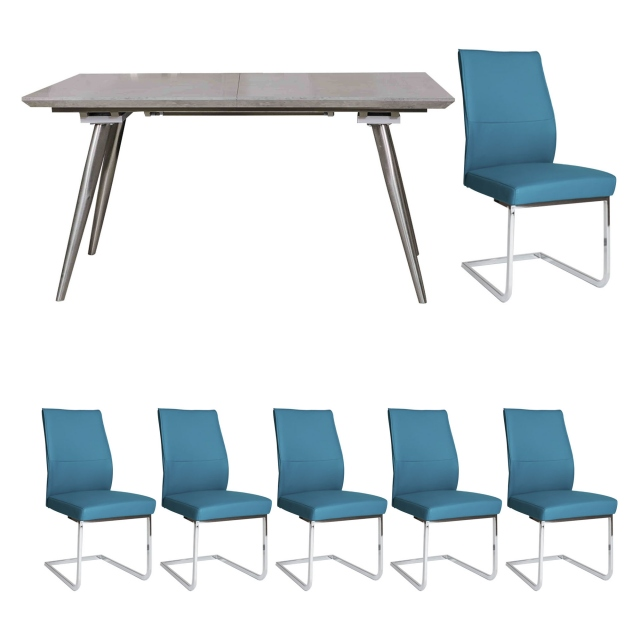 Detroit - Extending Dining Table & 6 Blue Chairs