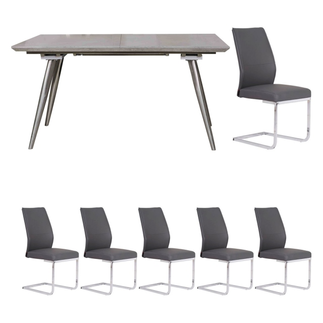 Detroit - Extending Dining Table & 6 Grey Chairs
