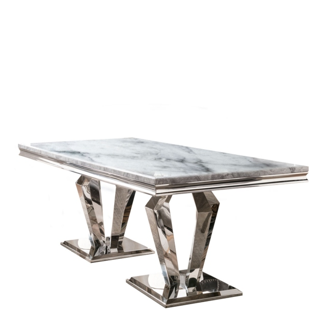 Missano - 160cm Dining Table Grey Marble Top