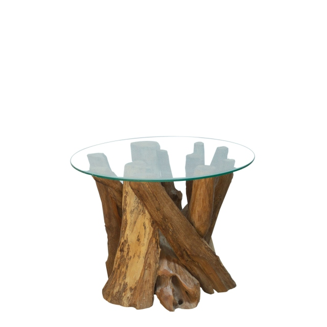 Twiggy - Round Coffee Table With Glass Top