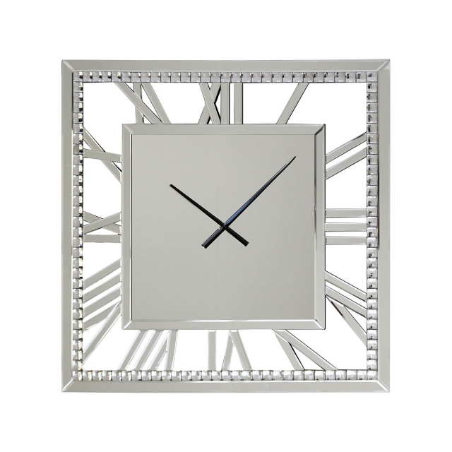 Square Crystal Mirrored Wall Clock -