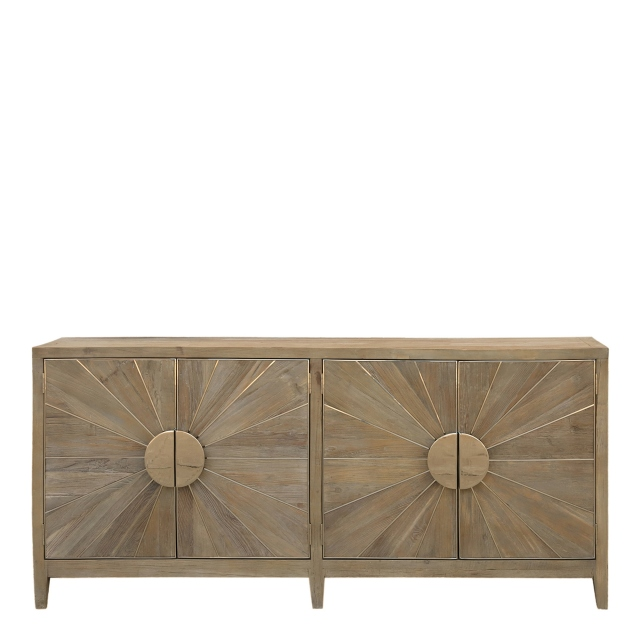 Georgetown - 200cm Sideboard Smoky Grey/Shiny Steel