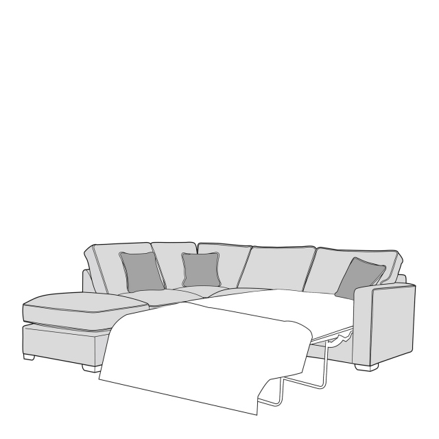 Dallas - Standard Back 2 Seat Sofabed RHF Arm with LHF Chaise Unit Including Footstool