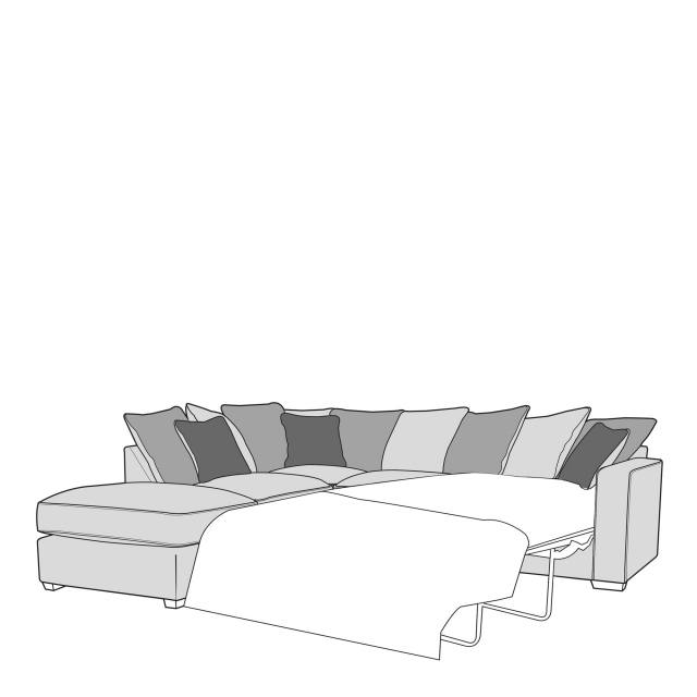 Dallas - Pillow Back 2 Seat Sofabed RHF Arm with LHF Chaise Unit Including Footstool