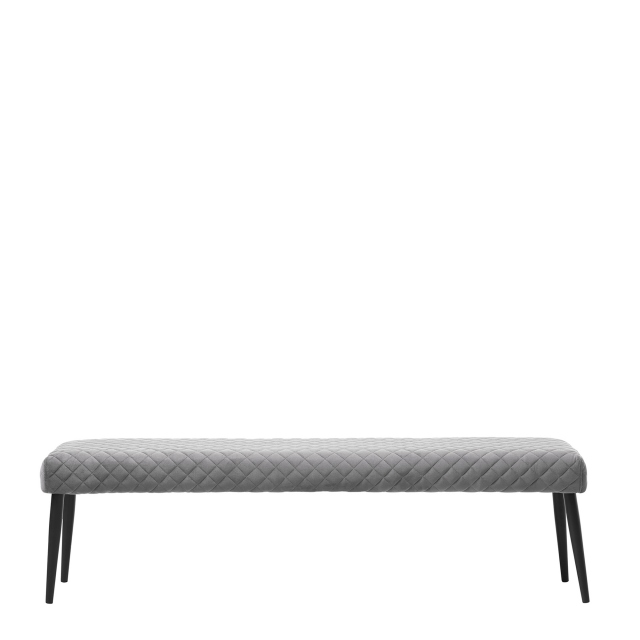 Copeland - Bench 160cm Grey Velvet Fabric With Black Metal Legs