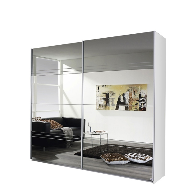 181cm 2 Door Sliding Robe White/Mirror - Reflection