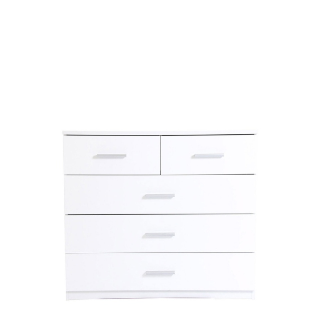 Amalfi - 2+3 Drawer Chest In AN925 Alpine White Carcase/White High Polish Front