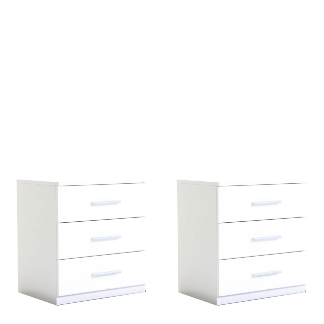 Amalfi - Pair Of 3 Drawer Bedside Tables High Polish White AN925 Carcase Alpine White