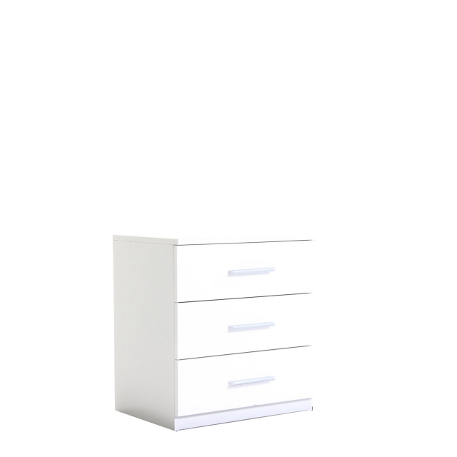 Amalfi - 3 Drawer Bedside Table In AN925 Alpine White Carcase/White High Polish Front