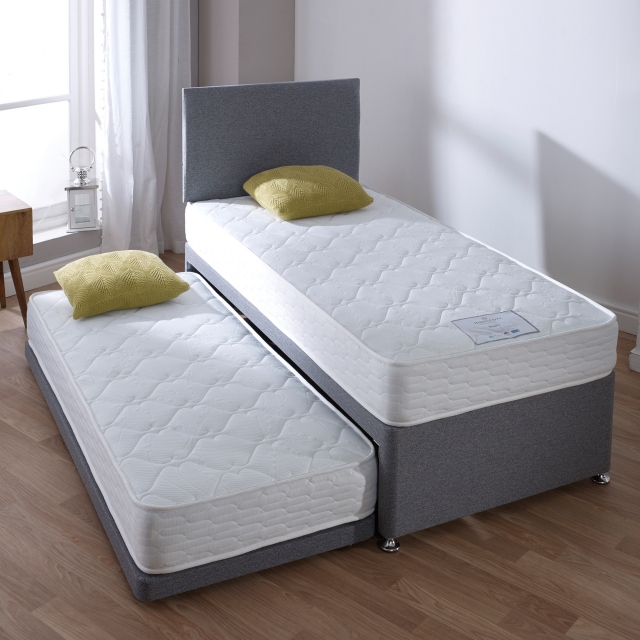 Buddy Guest Bed - Guest Bed Inc 2 x Open coil memory Matts in Plain Grey 90cm