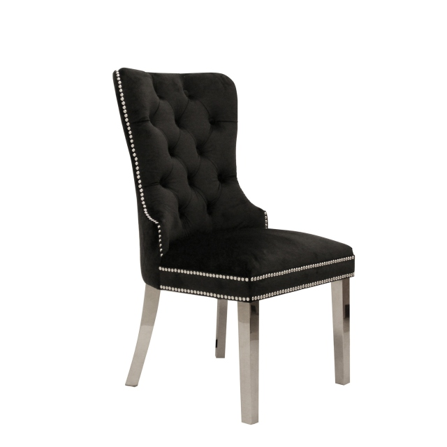 Metropole - Quilted Back Dining Chair In Beige Velvet With Rectangular Hook Handle