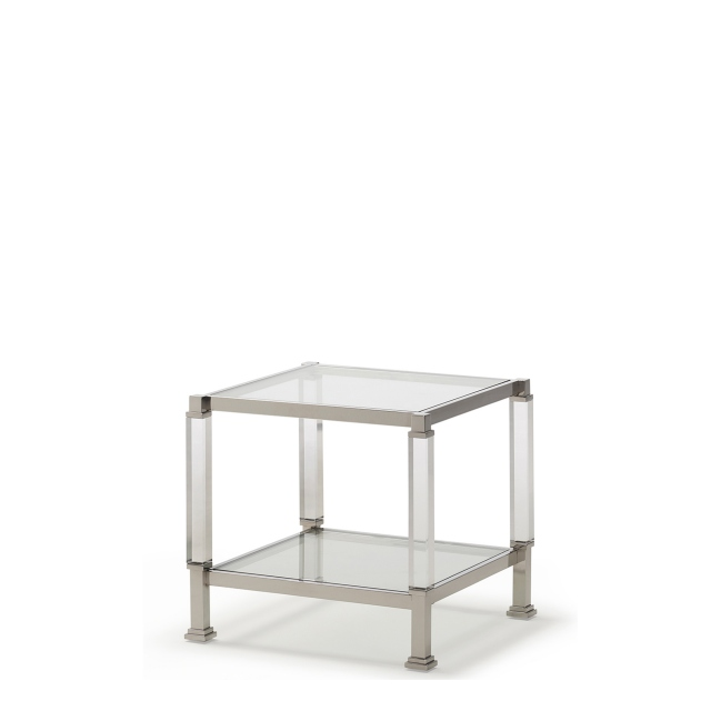 Vaughan - Lamp Table Polished Steel & Acrylic Frame