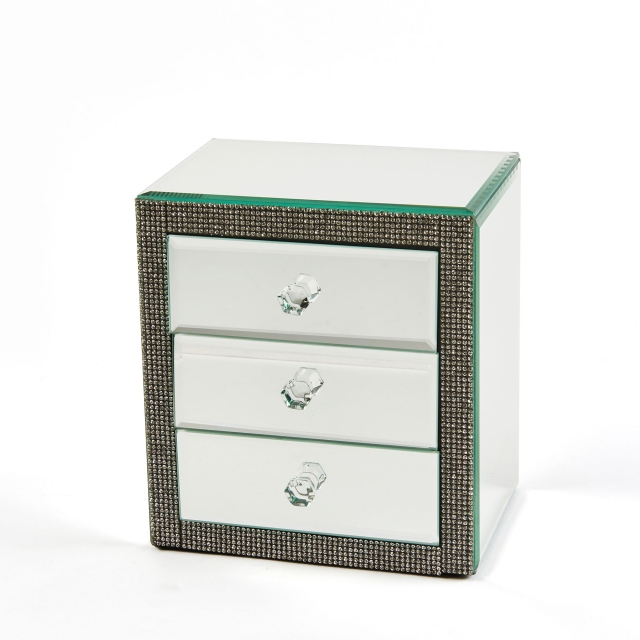 Vegas Glitz Mirrored Jewellery Box - Silver