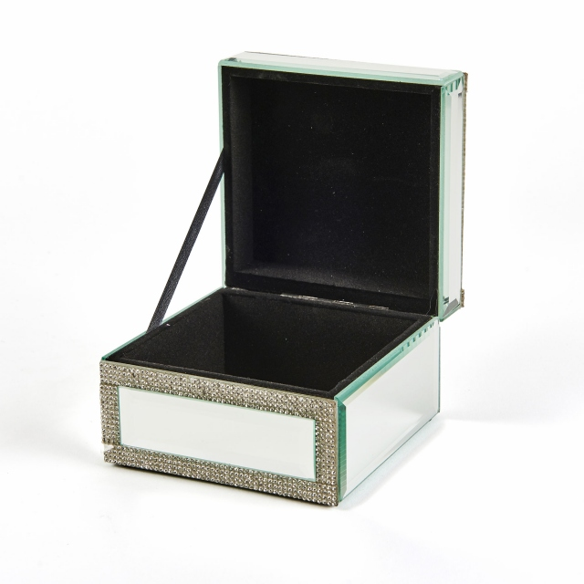 Vegas Glitz Mirrored Trinket Box Small - Silver