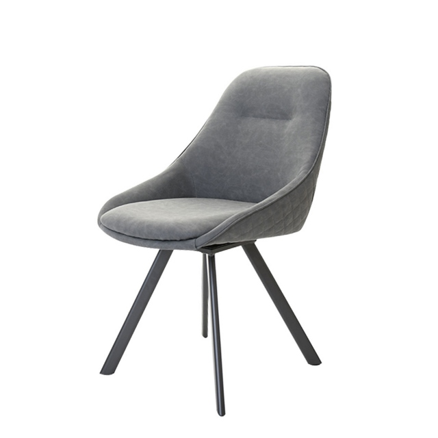 Daniel  - Swivel Dining Chair In Grey Faux Leather