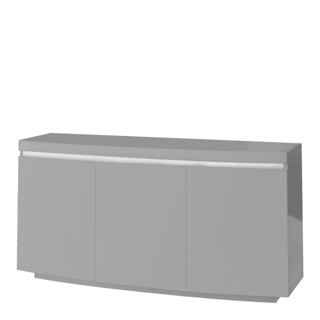 Parini - Curved Sideboard In Dark Grey High Gloss With Light