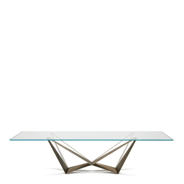 Cattelan Italia Skorpio Glass - Dining Table With Clear Glass Top & Brushed Bronze Base 300 x 120cm