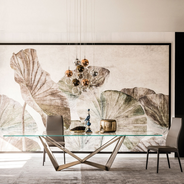 Cattelan Italia Skorpio Glass - Dining Table With Clear Glass Top & Brushed Bronze Base
