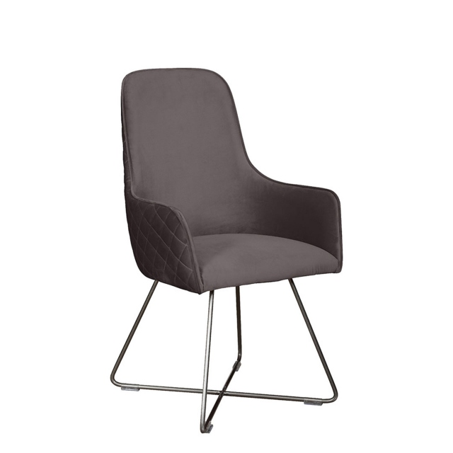Georgia - Dining Chair In Burnt Orange Velvet Pewter Leg