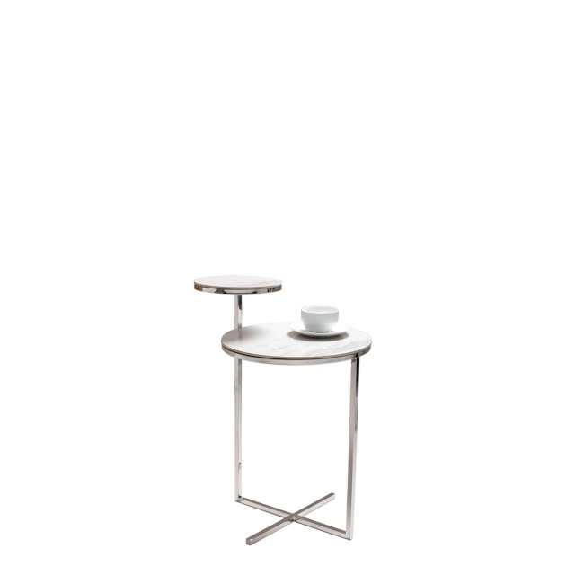 Heidi - Side Table Stainless Steel With Ceramic Carrara Marble Finish