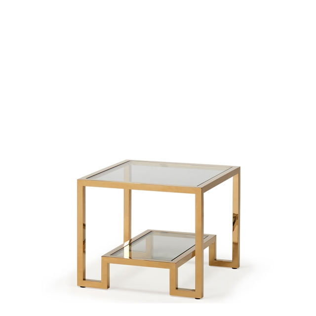 Frame  - Lamp Table Clear Glass Champagne Finish Frame