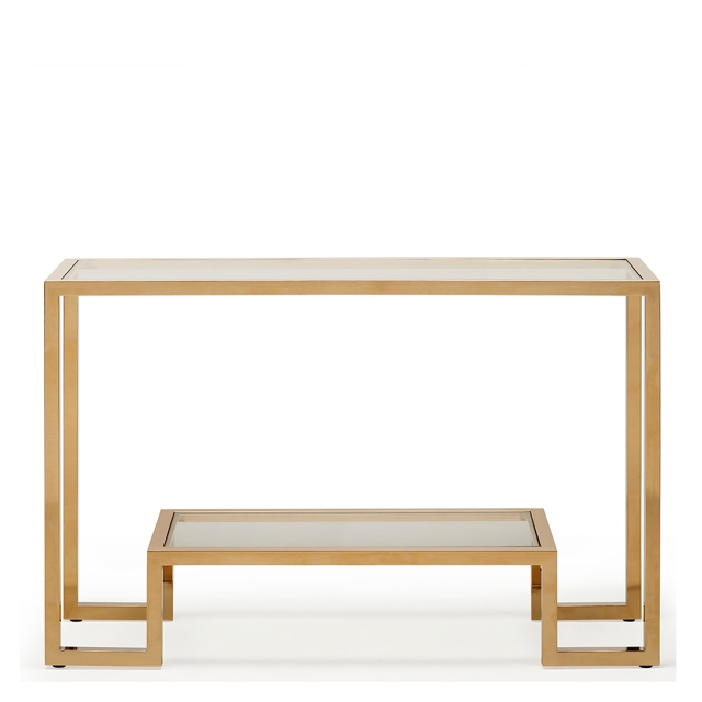 Frame  - Console Table Clear Glass Champagne Finish Frame
