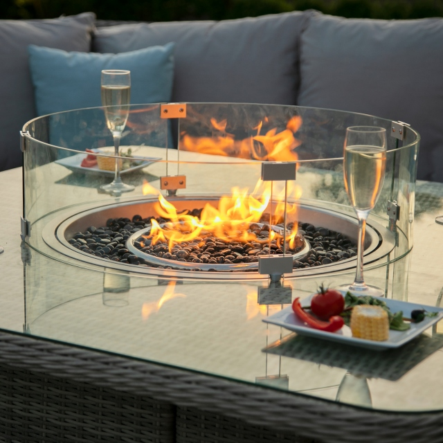 Oyster Bay - Square Royal Corner Bench Set With Fire Pit - Grey Rattan