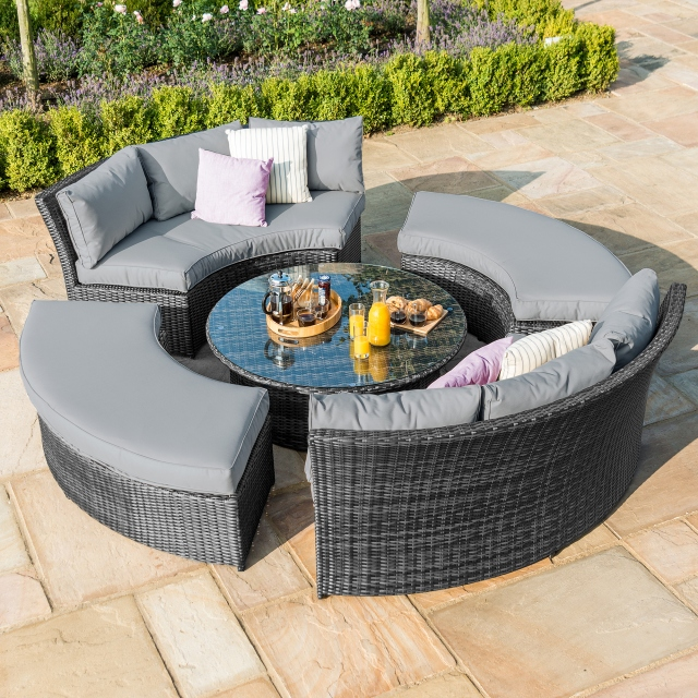 Windsor Hills - Lifestyle Suite With Glass Table - Grey Rattan
