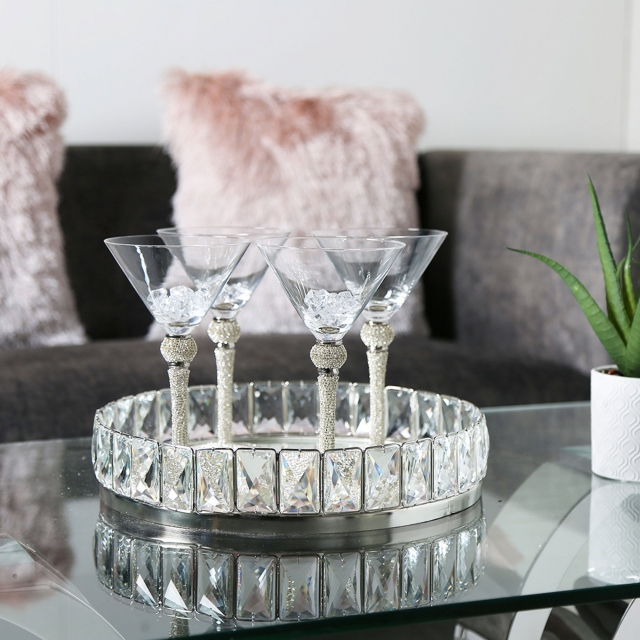 Allure Crystal Tray - Mirrored Small