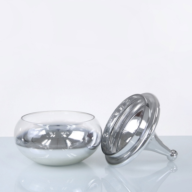 Finial Glass Vase with Lid - Silver Large