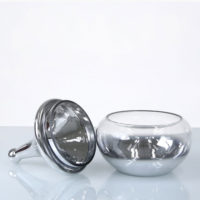 Finial Glass Vase with Lid - Silver Small