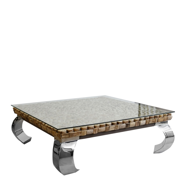 Lamay - Large Square Driftwood Coffee Table With Stainless Steel Legs