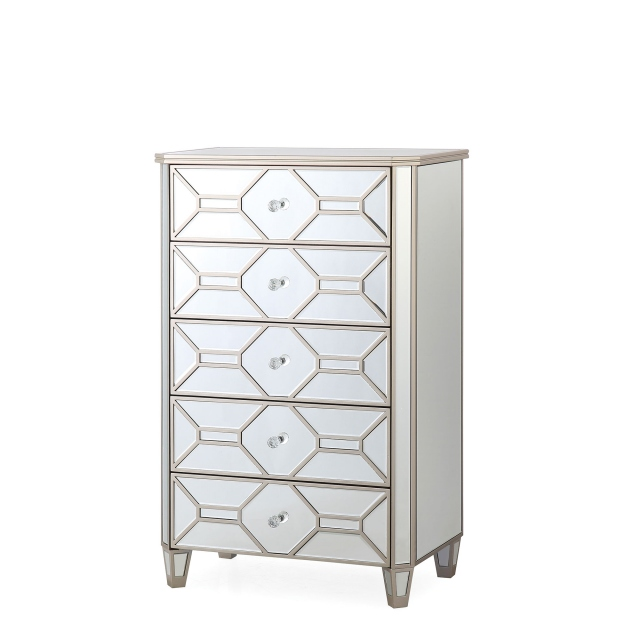 Ruby - 5 Drawer Mirrored Tall Chest