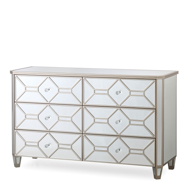 Ruby - 6 Drawer Mirrored Wide Chest