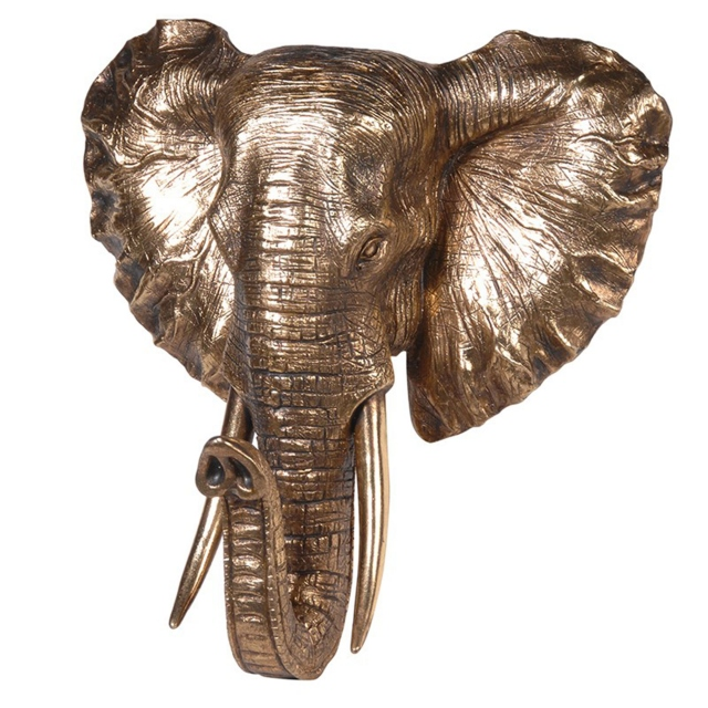 Elephant Head Wall Mounted - Gold