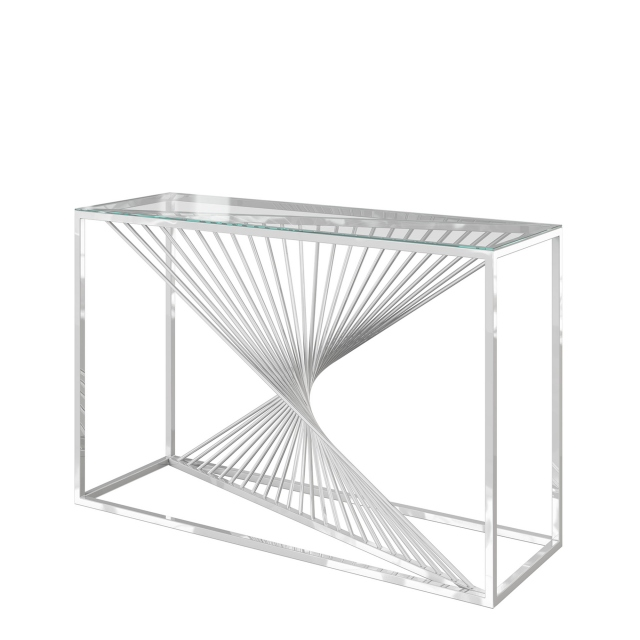 Mondrian - Console Table Clear Glass & Polished Stainless Steel
