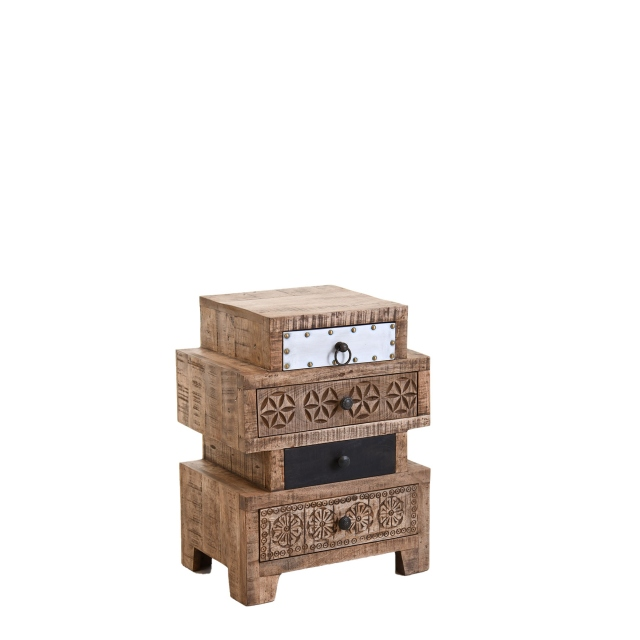 Agra - 4 Drawer Step Side Table