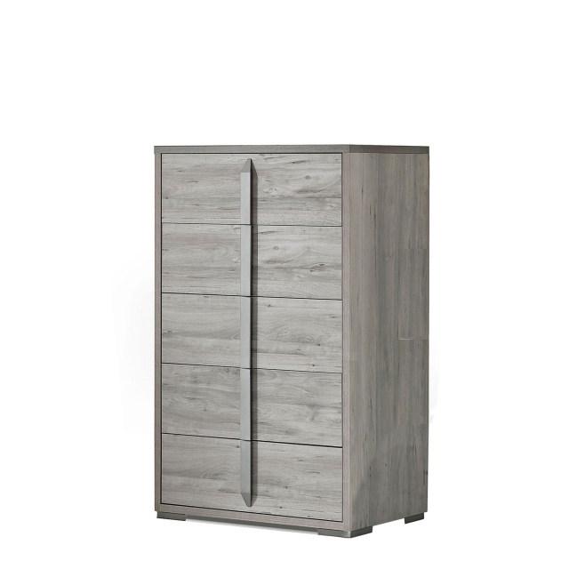 Harper - Tall Chest Of 5 Drawers Ash/Osage High Gloss Finish