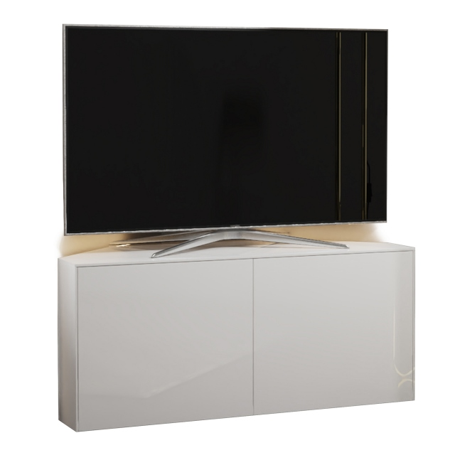 Paragon - 110CM Corner TV Unit In Black Gloss & Oak