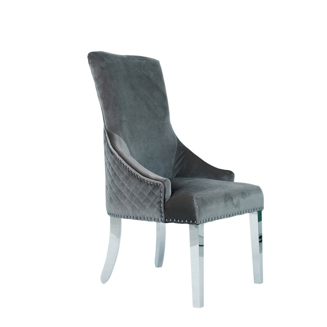 Versailles - Club Chair Grey Silver Velvet With Lion Head Handle